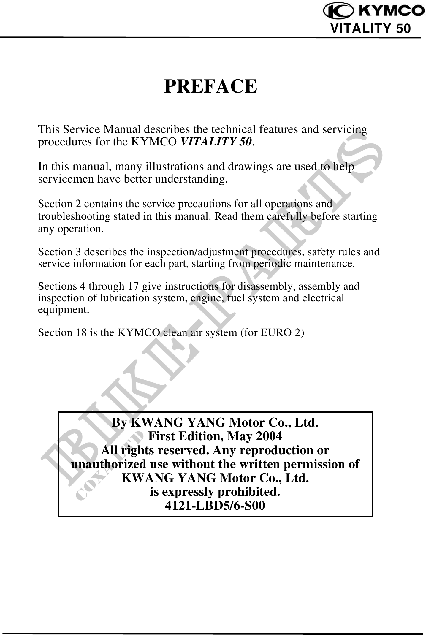 kymco vitality 50 2t service manual